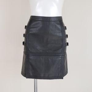 BCBGMaxAzria Devan Belted Faux-Leather Black Skirt
